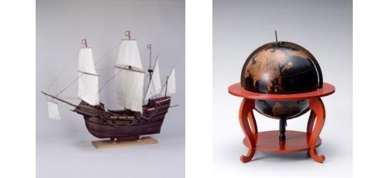 南蛮船模型(堺市博物館蔵)[左]・地球儀(南蛮文化館蔵)[右]