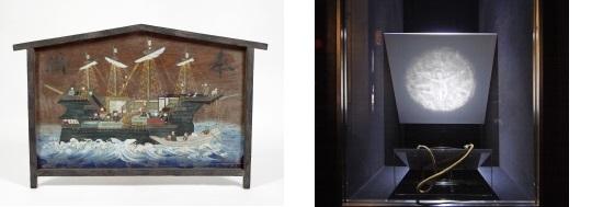 南蛮船絵馬(西南学院大学博物館蔵)[左]・キリシタン魔鏡(西南学院大学博物館蔵)[右]