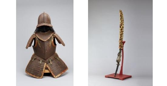 南蛮甲冑(松浦史料博物館蔵)[左]・三星梶葉入糸巻太刀拵(松浦史料博物館蔵)[右]