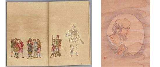 西洋外科絵図(松浦史料博物館蔵)[左]・ヒポクラテス図(個人蔵)[右]