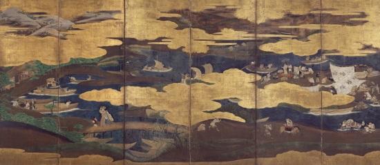 漁労図屏風[左隻](サントリー美術館蔵)