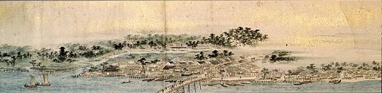 [金沢市指定文化財]紙本著色蓮湖真景之図(個人蔵)